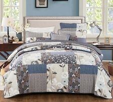 DaDa Bedding Quiet Country Farmhouse Navy Blue Floral Quilt Cover Bedspread Set