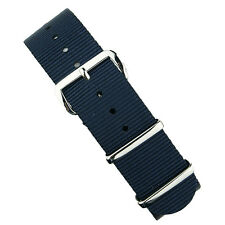 B & R Bands Navy Premium Nylon Military Style Watch Band Strap 18mm 20mm 22mm