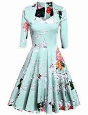 ACEVOG Vintage 1950's Floral 3/4 Sleeve Garden Party Picnic Dress Cocktail