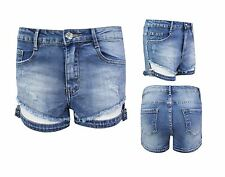 Ladies Denim Shorts Hotpants Womens Buckle Pants Distressed Ripped Jeans