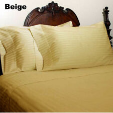 1000TC/1200TC 100%EGYPTIAN COTTON US SIZES ALL BEDDING ITEMS BEIGE STRIPED