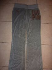 "VICTORIAS SECRET PINK BLING VELOUR ""LOVE PINK""UNIVERSITY PANT DOG SWEATPANTS NWT"