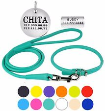Personalized Rolled Leather Dog Collar Leash Set ID Tag Soft Padded Sizes S M L