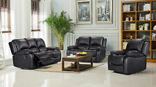 New Valencia Electric 3 2 1 Seater Bonded Leather Recliner Sofa Suites - Black