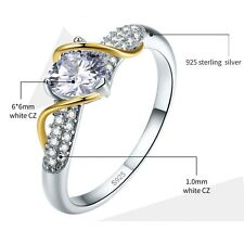 Genuine 925 Sterling Silver Ring lady Lab Diamond white love engagement ring