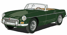 MG early MGB sports car canvas art print red or green