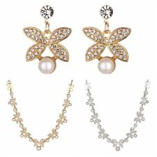 Charming Bridal Crystal Rhinestone Pearl Drop Necklace Earrings Women Jewelry
