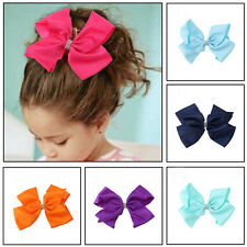 8 INCH BIG GROSGRAIN BOWS BOUTIQUE HAIR CLIP PIN BUTTERFLY CLIPS RIBBON BOW GIRL