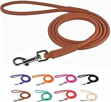 Rolled Leather Dog Leash 4 or 6ft Soft Padded Training Dog Lead XS S M L XL
