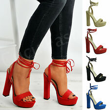 New Womens Ladies High Block Heel Peep Toe Lace Up Sandals Platforms Shoes Size