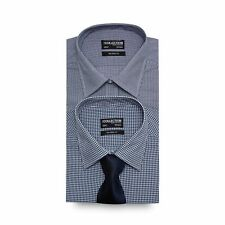 Big And Tall Set Of Two Navy Gingham Checked Tailored Fit Shirts With A Navy Tie
