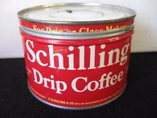 Vintage 1 LB Schilling Coffee Tin KeyWind all red with white letters