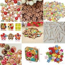 100x Star Heart Flower 2 Holes Wood Sewing Craft Scrapbooking DIY Buttons Hot