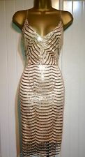 Gold Sequin Scalloped Crochet Plunge Bodycon Evening Party Dress Size 10 12