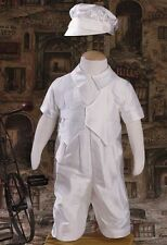Baby Boys White Christening Suit Baptism Outfit Silk Dupioni w/ Hat 0-12M DPB351