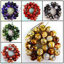 Wholesale 16mm Faceted Fire Dragon Veins Agate Ball Loose Bead 15.5'' HBTZ65