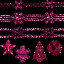 Pink Christmas Foil Ceiling Decoration - Bells, Stars, Snowflakes, Garlands