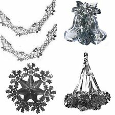 Silver Christmas Foil Ceiling Decoration - Bells, Stars, Snowflakes, Garlands