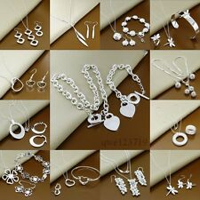 wholesale Gift fashion 925Silver Jewelry set Bracelet Necklace Ring Earrings+box