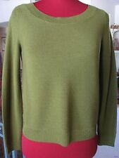 Eileen Fisher Sweater Bateau Neck Merino Jersey BoxTop Olive Green  L NwT $178