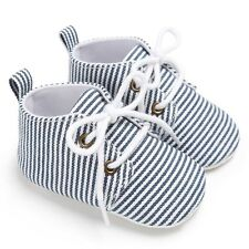 Toddler Baby Boy Striped Lace Up Shoes Soft Soled Crib Shoes Prewalker 0-18M