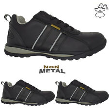 MENS ULTRA LIGHTWEIGHT STEEL TOE CAP SAFETY WORK TRAINERS SHOES LEATHER LACE UP