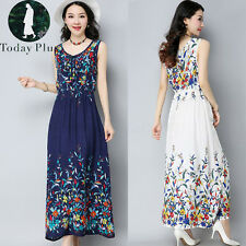 New Women Sleeveless Boho Beach Floral Print Maxi Long Dress Cotton Linen Kaftan