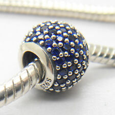 Genuine Authentic S925 Sterling Silver Blue Pave Set Lights Charm Bead