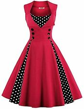 ACEVOG Womens Polka Dot 50s Vintage Dresses A Line Pleated Cocktail Party Swing