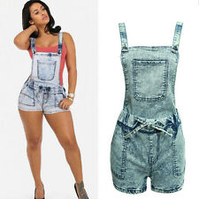 Women's Worn Adjustable Strap Tank Belted Jeans Denim Overall Shorts Jumpsuits