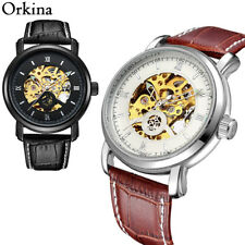 ORKINA Leather Strap Date Display Automatic Mechanical Men's Watch 45mm Case