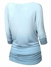 Doublju Womens 3/4 Sleeve Round Neck Ombre Drapey Dolman Top - Choose SZ/Color
