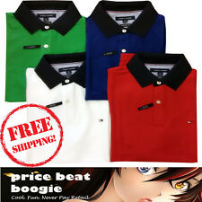 Tommy Hilfiger NWT Men's Performance Navy Collar Pique Polo Shirts Free Shipping