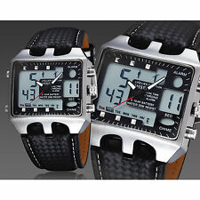 OHSEN Mens Multi-function Military Leather LCD Digital Analog Date Quartz Watch