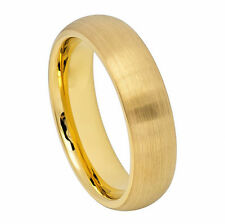6mm Men & Ladies Tungsten Carbide Gold IP Plated Brushed Dome Wedding Band Ring