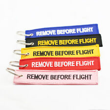 Cool Remove Before Flight Embroidered Fabric Luggage Tag Label Key Ring Chains