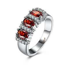 New Women Fashion Jewelry 18K White Gold Plated Ruby Zircon Cocktail Ring