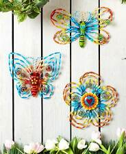 Rainbow Metal Dragonfly Butterfly Wall Hangings Outdoor Flower Shape Wall Decor