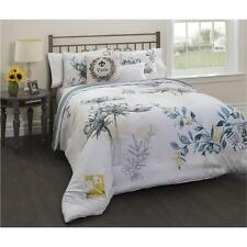 White Floral Paris Spring Postcard Floral Comforter Set Pillows Full Queen King