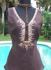 Cache $88 100% SILK EMBROIDERY EMBELLISHED LACE-UP Top NWT S/M/L PLUNGING V NECK