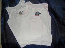 2 PACK BOYS BATMAN VESTS WHITE  - AGES 3/4 - 5/6 - 7/8 YRS