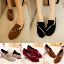 Women Lady Zipper Slip On Pointed Toe Suede Casual Flats Shoes Moccasins Loafers