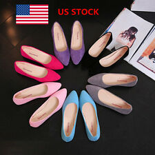 US Women Summer Casual Low Heels Work Walk Pointed Shoes Flats Loafers Oxfords