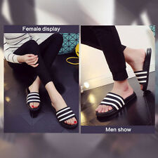 Women Men Striped Non-slip Flip Flops Unisex Flat Shower Sandals Slippers Shoes