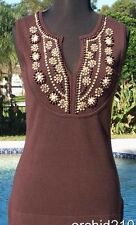 Cache $$$ PLUNGING V NECK STRETCH WOOD BEADS STONES EMBELLISHMENT Top NWT S/M/L