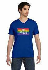Be Proud Pride Parade Gay Rainbow Flag V-Neck T-Shirt Gays Support LGBT Rights