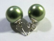 6mm 8mm 10mm OLIVE GREEN Sea Shell Pearl Stud Earrings 925 Sterling Silver Posts