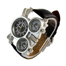 OULM Mens Leather Band Sports Military Army Cool 3 Time Zones Quartz Wrist Watch