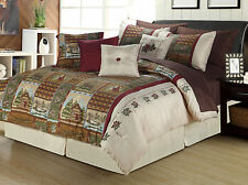 King or Queen Cabin Wildlife Comforter Bedding 12 Pc Set and Sheets Rustic Cabin