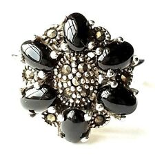 (SIZE 7,8) ONYX STONES RING Black Onyx Beads Marcasite. 925 STERLING SILVER